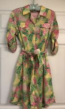 Lilly Pulitzer Pink & Green Cotton Patchwork Floral Calico Belted Shirt Dress S