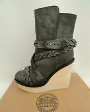 ACNE Black/Grey Leather Wedge Ankle Boots Shoes UK5 EU38 US8 RRP695GBP