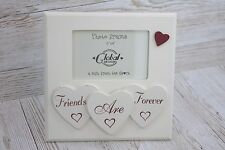 "Photo Frame Friends Are Forever Hearts Picture Wooden White 6x4"" Birthday F1216A"
