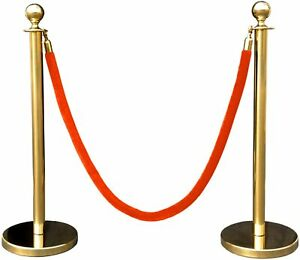 2 pcs Gold Stanchion Post Stainless Steel with Red Velvet Rope Crowd Control Bar