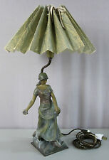 METAL FIGURAL LAMP_From Julie Harris Estate__Dutch Girl w Flowers_VGC_SHIPS FREE