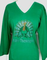PLUS 3X Top Rhinestone Hand Embellished HAPPY THANKSGIVING TURKEY Design