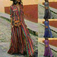 Women Summer Boho Long Maxi Dress Striped Outdoor Party Beach Dresses Sundress