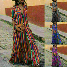 Women Summer Boho Long Maxi Dress Striped Outdoor Party Beach Dresses Sundress
