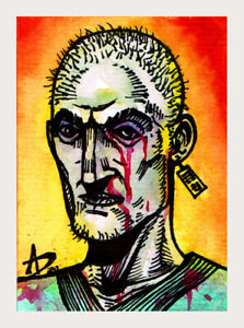 ORIGINAL ART   ACEO   Outsider Fantasy    Ink Watercolor   TED THE HUMAN LABRAT