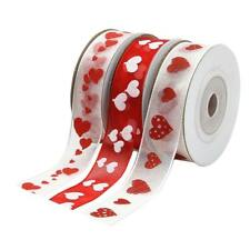 3x Printed Love Heart Sheer Ribbon for Valentine's Day Gift Wrapping Wedding