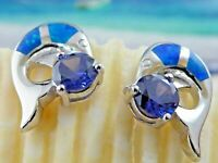 REAL STERLING SILVER BLUE OPAL DOLPHIN POST EARRINGS WITH ROUND TANZANITE CZ