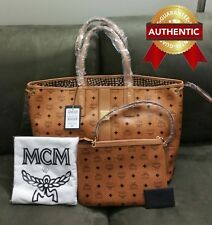 NEW Authentic MCM LARGE Reversible Shopper with pouch COGNAC BROWN / tote bag