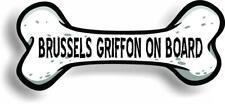 """Dog on Board Brussels Griffon Bone Car Magnet Bumper Sticker 3""""x7"""""""
