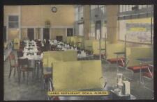 Postcard OCALA Florida/FL  1930's Era Sarres Restaurant Interior view