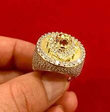 Men's 14K Gold Finish ROUND LION HEAD Ring Simulated Lab Diamonds