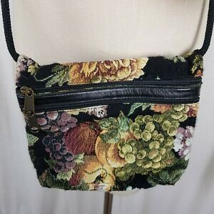 My Maine Bag Floral & Fruit Grapes Woven Tapestry Purse Cross Body Shoulder Bag