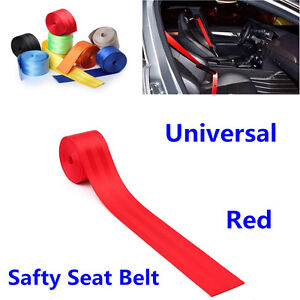 380cm Red Harness Racing Front 3 Point Safety Retractable Car Seat Lap Belt Kit