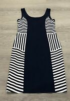 JOSEPH RIBKOFF Navy White Striped Bodycon Illusion Nautical Dress UK 12 14