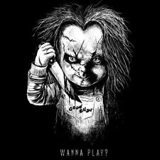 CHILD'S PLAY Chucky Doll WANNA PLAY? 80's Horror Slasher Art NEW TEEFURY T-SHIRT