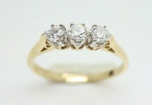 *Vintage 9Ct Gold Trilogy Cubic Zirconia Ring, Size O