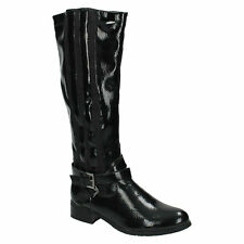 SALE LADIES SPOT ON PATENT ELASTICATED ZIP UP LONG KNEE LENGTH BOOTS F50154 SIZE