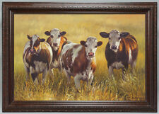 Large framed fine quality canvas art - oil painting portrait of cows 42x32