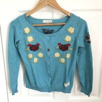 Odd Molly Cardigan Size 1 Turquoise Blue Floral Embroidery Boho Cottagecore