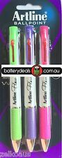 Artline flow Ballpoint pen 4 colour multi colour 1mm super smooth gel ink bright