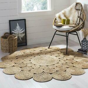 Rug 100% Jute Rug Bohemian Reversible 120x120 CM Round Area Dhurrie Carpet Mat