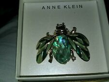 Tones And Blue-Green Accents Signed Anne Klein Bug Brooch With Gold