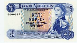 """Mauritius ... P-30a … 5 Rupees … ND (1953) … *Choice UNC* ... Sign """"1"""""""