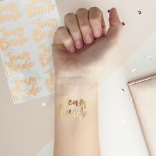 TEAM BRIDE Temporary Hen Party Tattoos x 16 - Rose Gold - Alternative to Badges