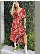 BNWT H&M Johanna Ortiz Maxi Vestido Floral Envoltura Rojo, L grande Blogger agotado