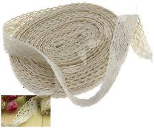 12m x 2cm Cotton Lace Edge Trim Ribbon Craft Cotton Crochet Beige Vintage TN