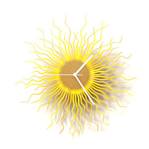 Medusa gold - modern wooden wall clock in shades of yellow / gold by ardeola