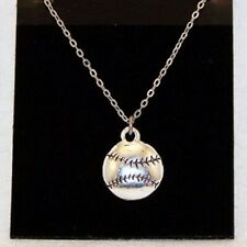 Baseball Ball Necklace on 18 inch chain - Ball is 5/8 inch diameter