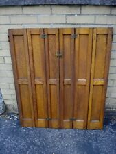 "Antique oak panel interior tri fold shutter door with hardware 36 3/8"" x 30 1/2"""