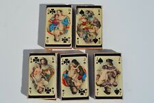 5 RARE VINTAGE EROTIC ART PLAYING CARD MATCH BOX MATCH HOLDER BOX MADE IN SWEDEN