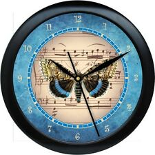 "BUTTERFLY VINTAGE-POSTCARD-Paris-France-Music Notes Blue 10"" Clock Gift"