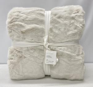 "NEW Pottery Barn Faux Fur Alpaca Oversized 60"" x 80"" Throw Blanket~Ivory"