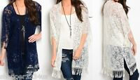 Sequin Embellish Lace Fringe Trim 3/4 Sleeve Open Front Tunic Cardigan/Cover-Up