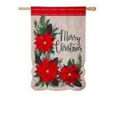 Christmas Poinsettia Floral House Linen Flag