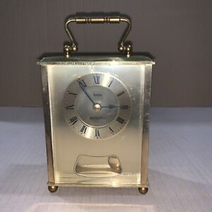 Vintage Acctim Brass Toned Quartz Carriage Clock With Pendulum & Bell