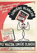 F- Publicité Advertising 1955 Pile Mazda Cipel Lumière Blanche