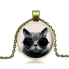 Vintage Cool Cat Cabochon Photo Bronze Glass Chain Pendant Necklace BAC141