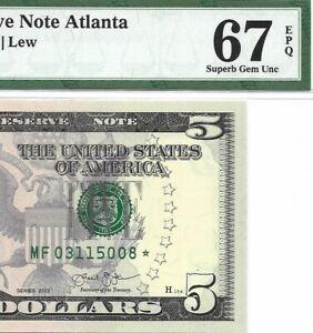 2013 $5 ATLANTA * STAR * ⭐️  FRN, PMG SUPERB GEM UNCIRCULATED 67 EPQ BANKNOTE, 3