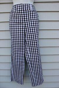NWT Ann Taylor Black/White Print Signature Fit Crop Pants 16