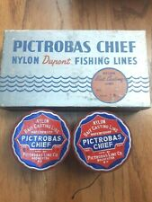 Vintage Pictrobas Chief DuPont Wood Line Spools And Box