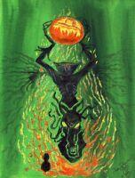 Fiery Green HEADLESS HORSEMAN Signed Print Sleepy Hollow by John Randall York