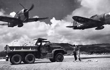 WWII B&W Photo P-47 Thunderbolts Saipan  WW2 /5071