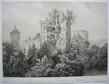 Gesprengter Turm Heidelberger Schloss getönte Lithographie Baden 1844