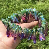 50g AB titanium rainbow aura lemurian quartz crystal point gem rock reiki