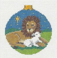 SP.ORDER~ Lion and Lamb handpainted Needlepoint Ornament Canvas by Susan Roberts