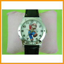 NEW Super Mario Bros Kids Children Black Quartz Wrist Watch Wristwatch + CHARM